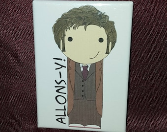 Tenth Doctor kokeshi style Doctor Who refrigerator magnet peg doll illustration fan art