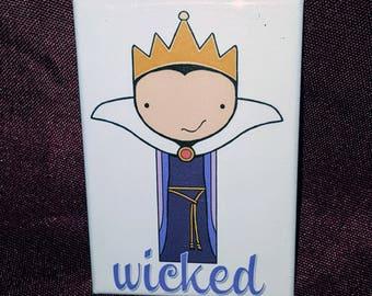 Evil Queen Snow White-inspired kokeshi peg doll illustration refrigerator magnet