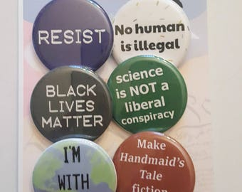 Resist set of 6 pinback buttons 1.25""