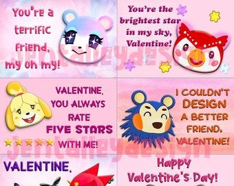 ACNH Animal Crossing printable digital download Valentine cards