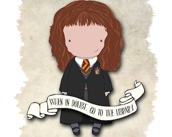 Hermione library quote original art 8x10 or 5x7 quote print