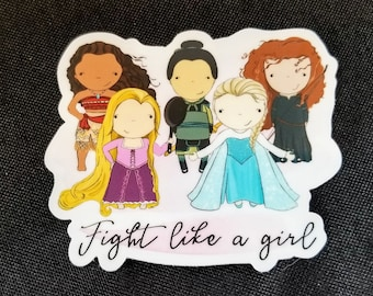 Fight like a girl princess quote original pop culture chibi art vinyl sticker