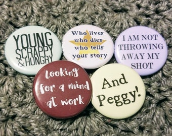 Set of 5 Act I Hamilton-inspired pinback buttons 1.25""