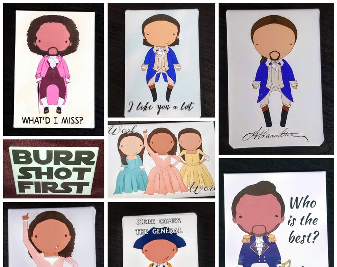 Featured listing image: ALL 16 Hamilton-inspired original art magnets! Full set!