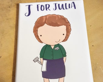 J is for Julia refrigerator magnet women alphabet