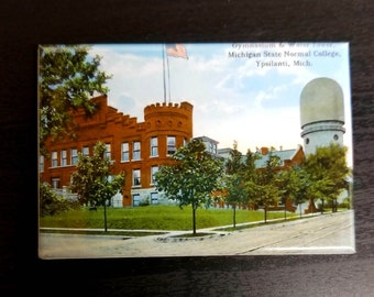 Ypsilanti Eastern Michigan water tower vintage retro postcard refrigerator magnet