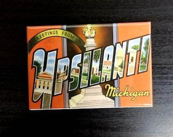 Ypsilanti vintage retro postcard refrigerator magnet