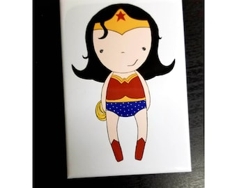 Wonder Woman inspired refrigerator magnet comics illustration
