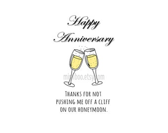 Happy Anniversary funny snarky digital download greeting card