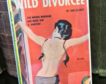Wild Divorcee vintage refrigerator magnet pulp adult fiction cover