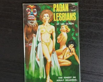 Pagan Lesbians vintage refrigerator magnet pulp adult fiction cover