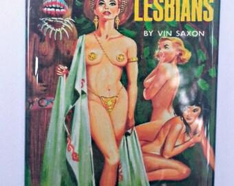 Pagan Lesbians vintage refrigerator magnet pulp adult fiction cover