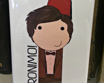 11th Doctor Matt Smith kokeshi style Doctor Who refrigerator magnet peg doll illustration fan art