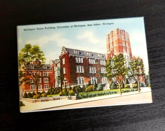 University of Michigan Ann Arbor vintage retro postcard refrigerator magnet