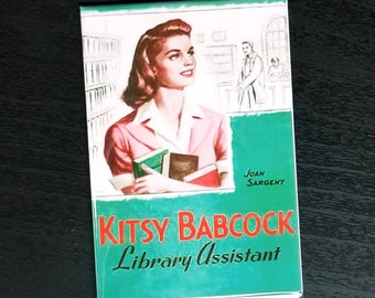 Kitsy Babcock Library Assistant vintage retro book cover refrigerator magnet
