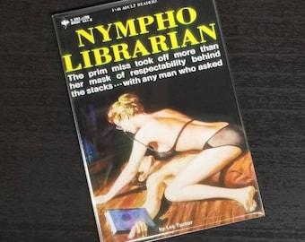 Nympho Librarian vintage refrigerator magnet pulp fiction cover