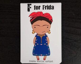 F is for Frida refrigerator magnet women alphabet artist