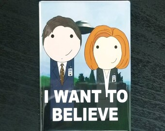 X-Files Mulder & Scully I want to believe kokeshi style refrigerator magnet peg doll illustration fan art