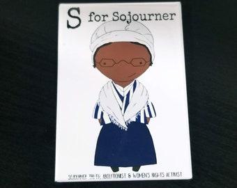 S is for Sojourner refrigerator magnet women alphabet