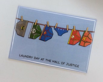 Laundry Day at the Hall of Justice magnet underwear DC fan art