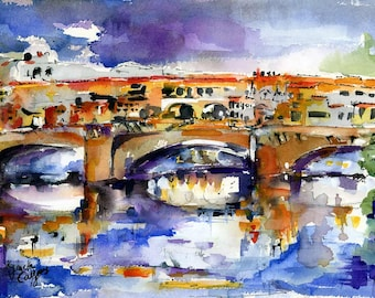 Original Watercolor and Ink Painting Florence Ponte Vecchio
