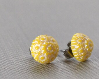 Yellow flower studs etsy yellow post earrings yellow daisy studs dainty and petite yellow flower earrings retro bridal party gift yellow wedding printemps mightylinksfo