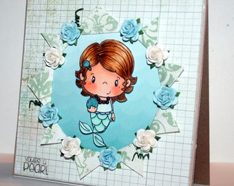 Beautiful handmade You're a Pearl card featuring CC Designs Mermaid