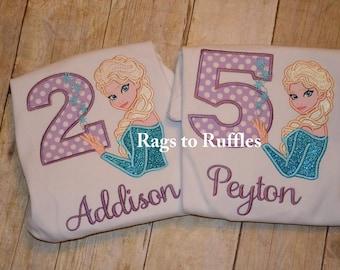 Applique Elsa Inspired 2nd Birthday Shirt Ice Princess Frozen