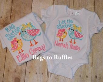 Big Sister Personalized Shirt- Little Sister Applique Shirt- Big Sis Monogrammed Shirt