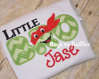 Little brother personalized shirt- Ninja Turtle Monogrammed Big Brother Shirt