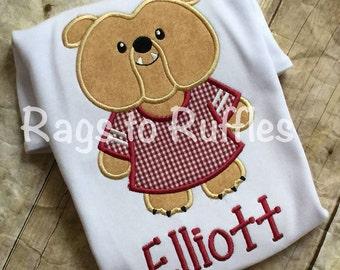 Bulldog Mascot Applique T shirt Team Spirit