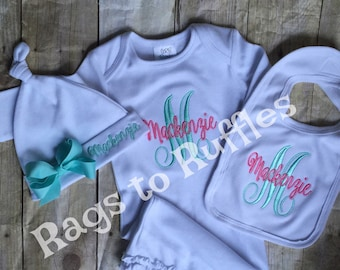 Baby Girl Coming Home Outfit- Personalized Baby Gown- Monogrammed Baby Gown- Infant  Gown