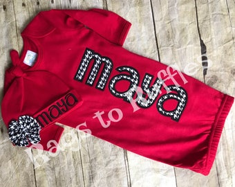 Baby Girl Coming Home Outfit- Infant Personalized Gown- Monogrammed Baby Gown- Alabama Infant Gown
