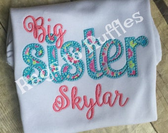 Big Sister Personalized Shirt - Monogrammed Big Sis Shirt- custom Bug Sister Shirt