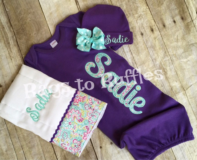 Newborn Girl Personalized Baby Gown Baby Girl Monogrammed Gown Baby Girl Coming Home Outfit Monogrammed Burp Cloth