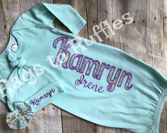 Baby Girl Coming Home Outfit- Infant Personalized Gown- Monogrammed Baby Gown