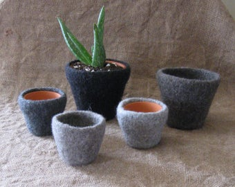 Felted Planter/Lt Grey Heather/Med Grey Heather/Charcoal Heather/Small or Large/Co-worker Gift/Gift under 10/Hostess Gfit/Ready to Ship