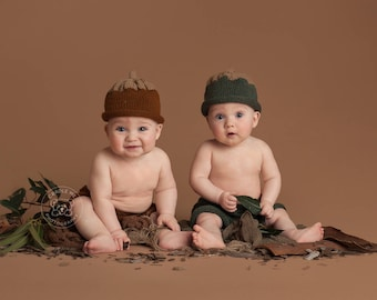 Sitter Acorn Hat and Short Pants / 6-12 Months / Photo Prop / Thanksgiving / Brown or Green