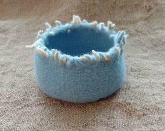 Robin's Egg Blue Felted Wool Bowl /Bohemian / Cozy / Hygge Decor / Gift Idea