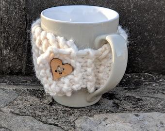 Hand-knit Cup Cozy Coffee Mug Cozy Heart Wedding Anniversary