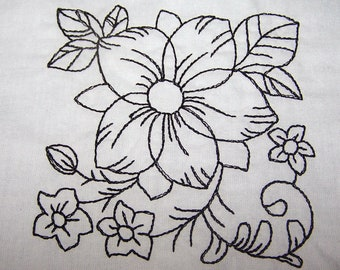 Six quilt blocks color your own floral group 1