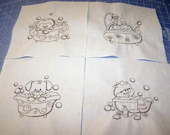 Ten bath time pals quilt blocks to color