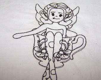 Fairies in teacups quilt blocks to color set of 6