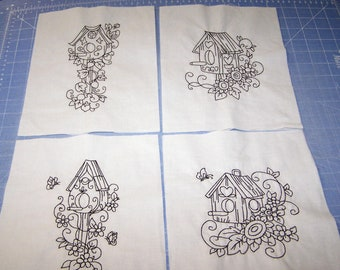 Ten embroidered quilt blocks birdhouses to color yourself