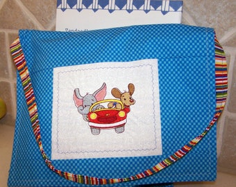 Childrens' travel tote messenger style bag embroidered pals