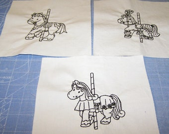 10 embroidered carousel horse blocks ready to color