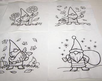 Calendar gnomes quilt blocks to color