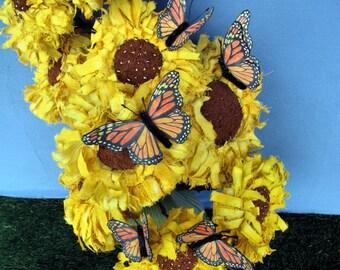Sunny & Billy, Primitive Pattern, Pdf Pattern, Sunflower, Butterfly,
