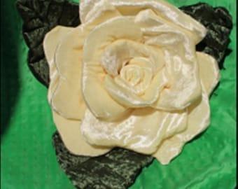 Large Yellow Rose Pillow, Rose Decoration, Rose Ring Bearer Pillow, Penne Velour Pillow, OOAK Rose Pillow