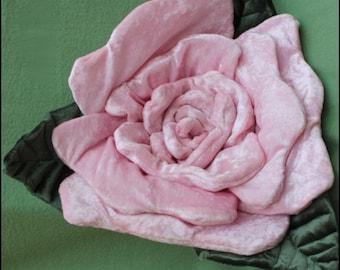 Large Pink Rose Pillow, Rose Decoration, Rose Ring Bearer Pillow,  OOAK Rose Pillow